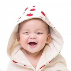 【台灣製】Nizio 小蘑菇天然棉紗浴巾(大紅點)