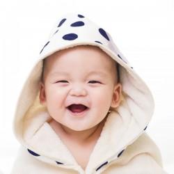 【台灣製】Nizio 小蘑菇天然棉紗浴巾(大藍點)