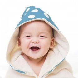 (預訂)【台灣製】Nizio 小蘑菇天然棉紗浴巾(粉藍白點)