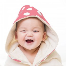 (預訂)【台灣製】Nizio 小蘑菇天然棉紗浴巾(粉紅白點)