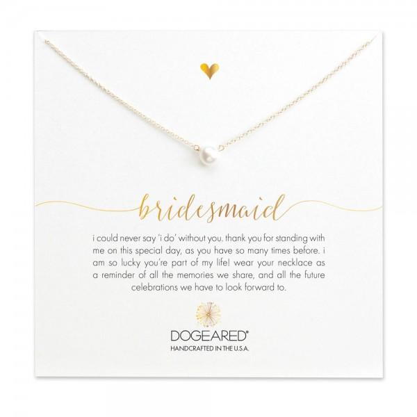 美國   Dogeared bridesmaid small pearl necklace