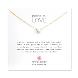 美國|Dogeared pearls of love large white pearl necklace, gold 愛之大珍珠。金色項鏈