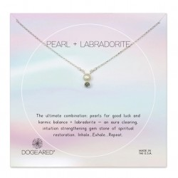 美國 | Dogeared pearl + labradorite duo necklace 珍珠與拉長石。項鏈