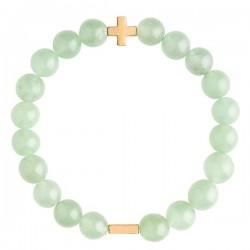 美國   Charged Jewelry Aventurine & Gold Elastic Bracelet 東陵玉手鏈