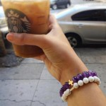 美國   Charged Jewelry Amethyst & Gold Elastic Bracelet  紫水晶手鏈