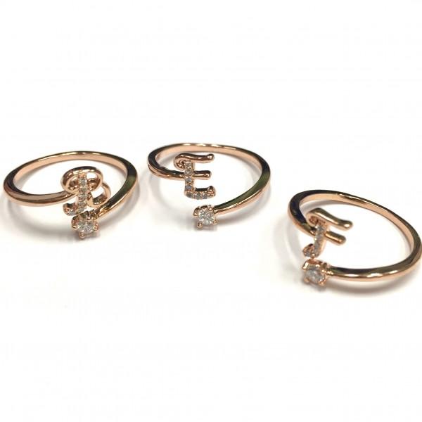 韓國 | 鋯石字母戒指 - 玫瑰金