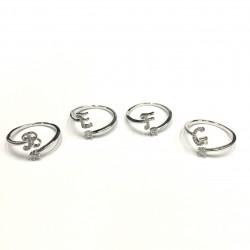 韓國 | 鋯石字母戒指 - 銀色
