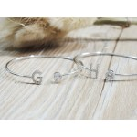 純銀鋯石字母手鐲