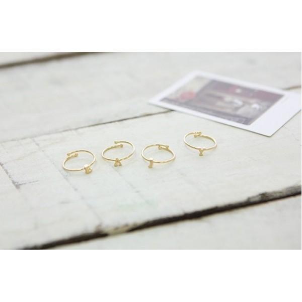 韓國 | 字母戒指 - 金色