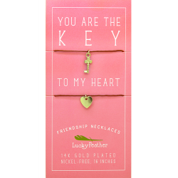 Lucky Feather Key to My Heart Necklace Set