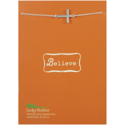 Lucky Feather Believe Sideways Cross Necklace