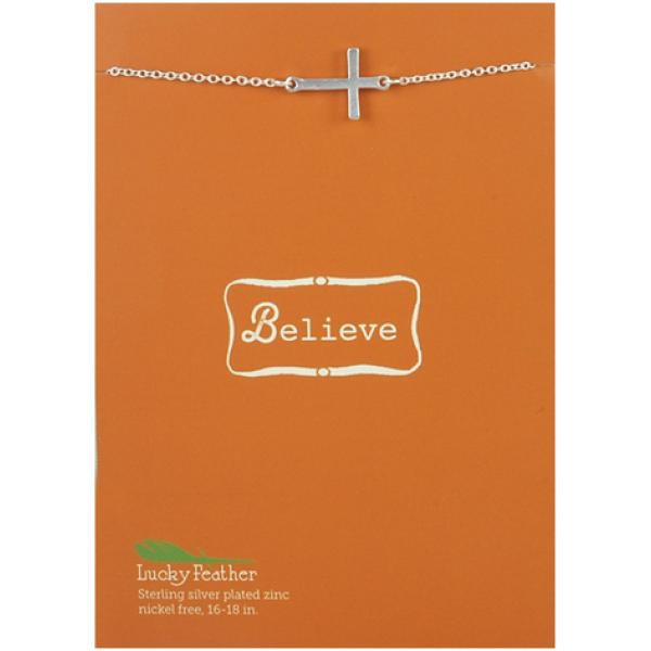 Lucky Feather Believe Sideways Cross Necklace